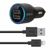 АЗУ Belkin Dual Car Charger With Lightning To USB Cable 2.1A/2USB Black черное F8J071bt04-BLK