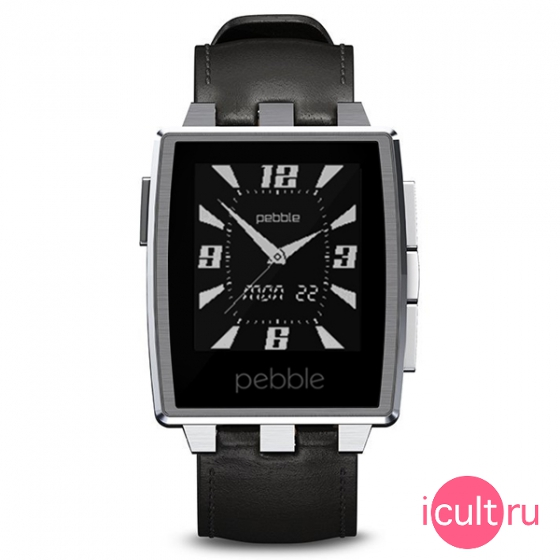 Смарт-часы Pebble SmartWatch Steel 46 мм Brushed Stainless черные/серые