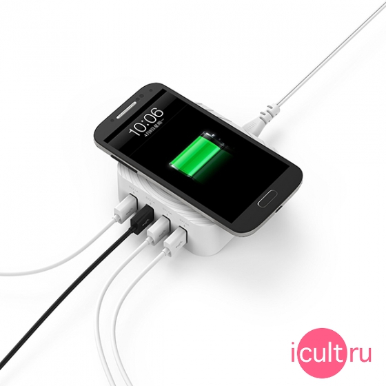 Беспроводное ЗУ Zendure USB Desktop Charger & Qi Wireless Charging 4USB Whitе белое