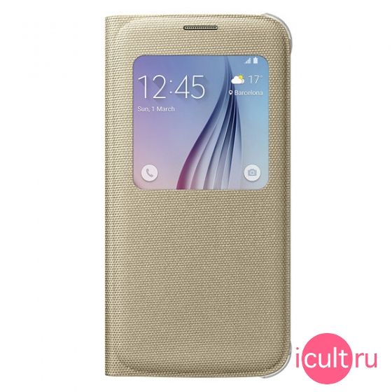 Чехол-книжка Samsung S View Cover Fabric Gold для Samsung Galaxy S6 золотой EF-CG920B