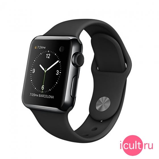 Смарт-часы Apple Watch 38 мм Space Black Stainless Steel/Black Sport Band черные MLCK2