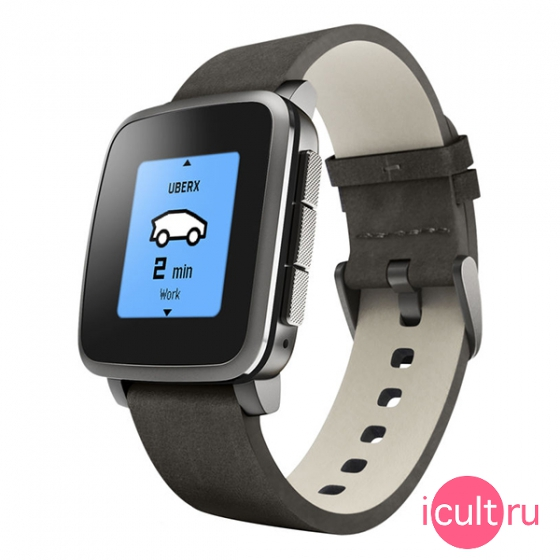 Смарт-часы Pebble Time Steel 47 мм Leather Band Black черные