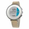 Смарт-часы Pebble Time Round (14mm) 38 мм Leather Band Silver/Stone серебристые/бежевые