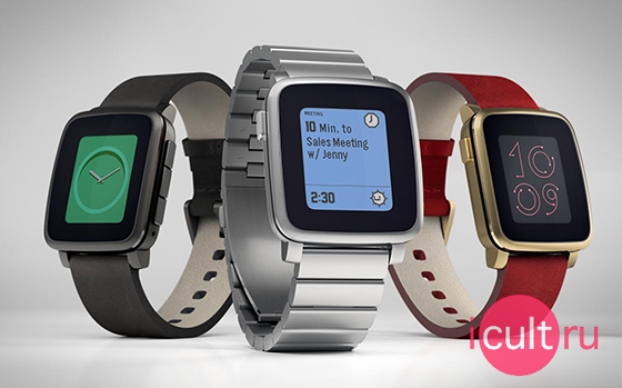 Pebble Time Steel Leather Band Silver