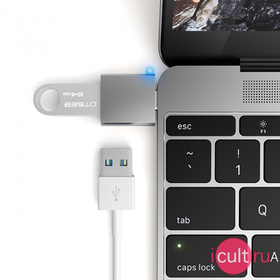USB-адаптер Satechi USB 3.0 to USB-C Adapter Space Gray темно-серый ST-TCUAM