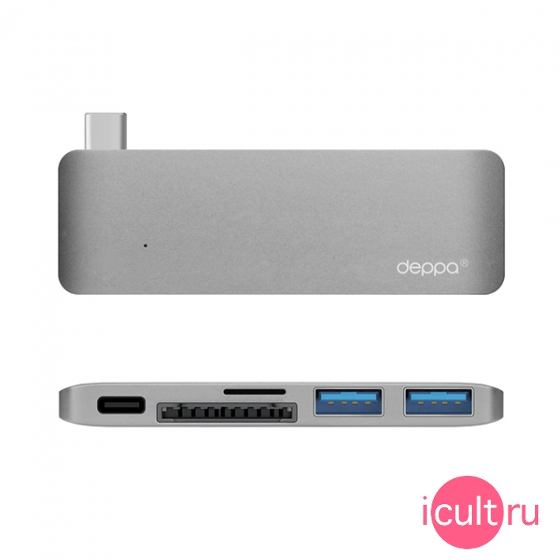 "USB-C хаб Deppa Type-C 5 in 1 2USB 3.0/1USB-C Graphite для MacBook 12"" графит 72217"