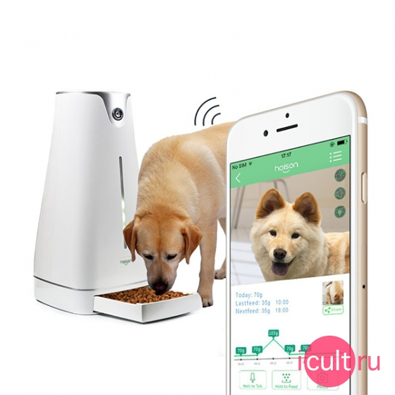 Wi-Fi камера наблюдения с выдачей корма Hoison Smart Pet Feeder для iOS/Android белая