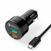 АЗУ + кабель Micro USB Aukey QC 2.0/3.0 Car Charger 3A/2USB Black черные CC-T7