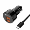 АЗУ + кабель Micro USB Aukey QC 2.0 Car Charger 2.4A/2USB Black черные CC-T6
