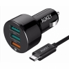 АЗУ + кабель USB-C Aukey QC 2.0/3.0 Car Charger 3A/3USB Black черные CC-T11