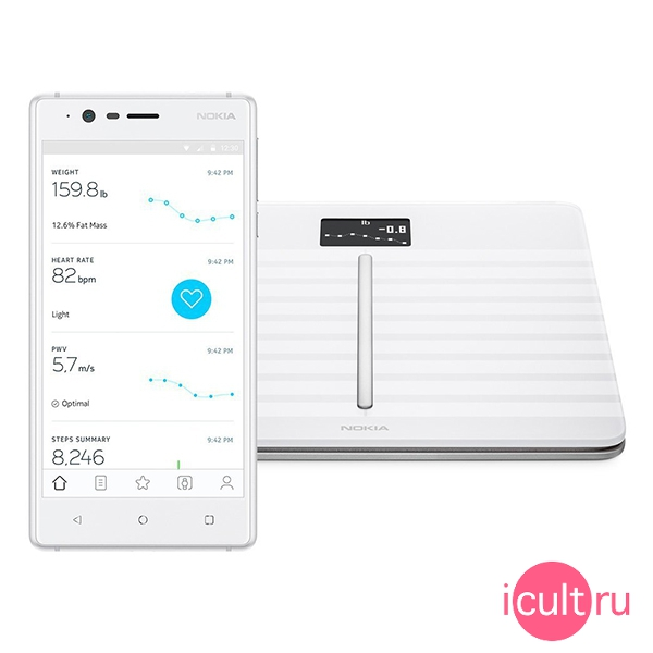 Умные напольные весы Withings/Nokia Body Cardio Scale White белые WBS04 WH