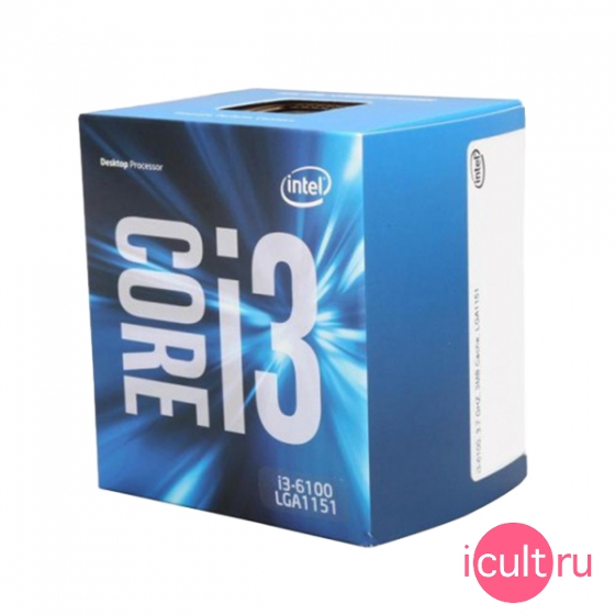 Процессор Intel Core i3-6100 Skylake 2*3,7ГГц, LGA1151, L3 3Мб