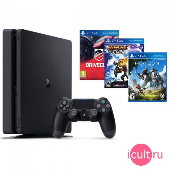 Игровая консоль Sony Playstation 4 Slim 500ГБ HDD  + Horizon Zero Dawn + Driveclub + Ratchet & Clank Black черная CUH-2008A