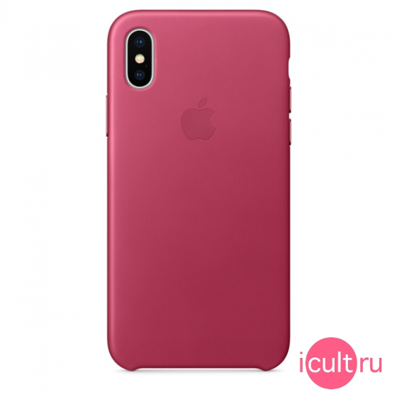 Кожаный чехол Apple Leather Case Pink Fuchsia для iPhone X фуксия MQTJ2
