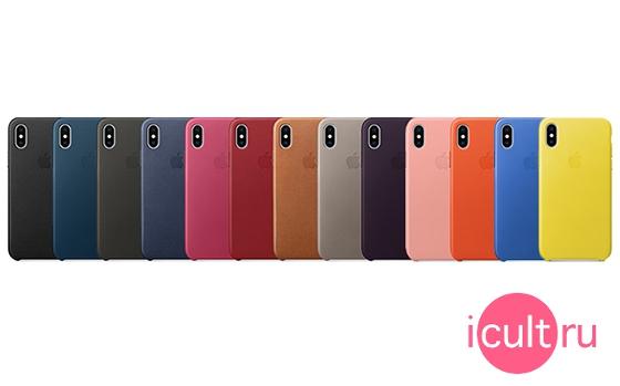 Apple Leather Case Pink Fuchsia iPhone X