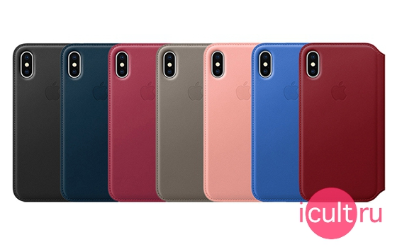 Apple Leather Folio Case Berry iPhone X