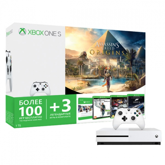 Игровая консоль Microsoft Xbox One S + Assassin's Creed Origins + Forza Motorsport 6 + Quantum Break + The Crew + Xbox Game Pass 1TB HDD White белая