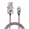 Нейлоновый кабель iDeal Fashion Lightning Cable 1 метр Peony Garden пионы IDFCL-68