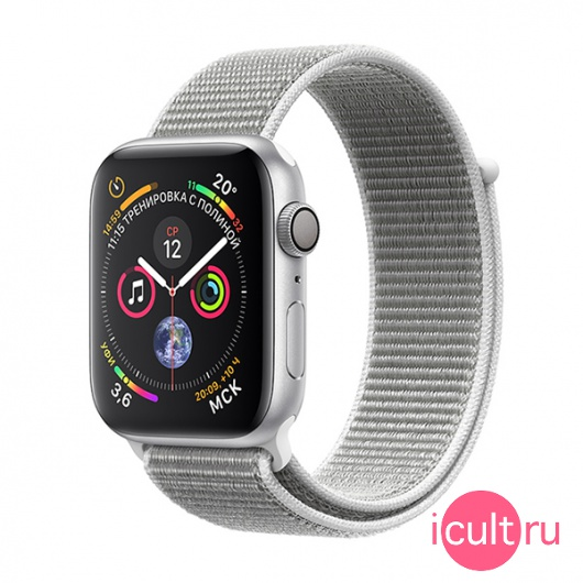 Часы Apple Watch Series 4 GPS 40mm Aluminum Case with Sport Loop Silver/ Seashell серебристые/белые MU652