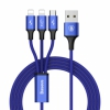 Нейлоновый кабель Baseus Rapid Series 3-in-1 Micro USB/2xLightning to USB Cable 1,2 метра Dark Blue темно-синий CAMLL-SU13