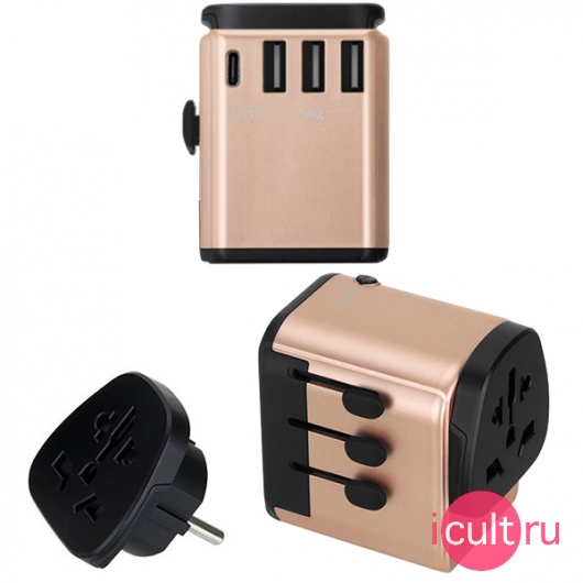 СЗУ Momax 1-World AC Travel Adapter PD 3A/3USB/1USB-C/1 розетка Gold золотое