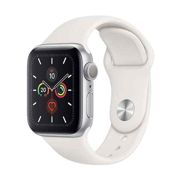 Смарт-часы Apple Watch Series 5 GPS 40mm Aluminum Case with Sport Band Silver/White серебристые/белые MWV62