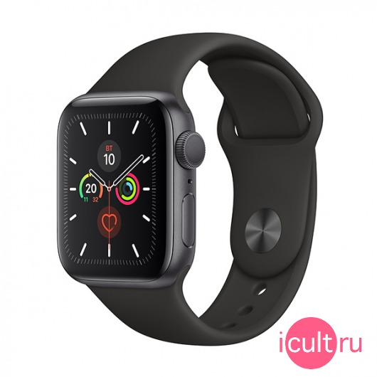 Смарт-часы Apple Watch Series 5 GPS 40mm Aluminum Case with Sport Band Space Gray/Black серый космос/черные MWV82