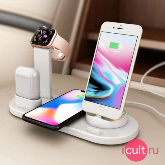 Двойное беспроводное ЗУ Adamant 4 in 1 Wireless Charging Stand 1USB-C/1MicroUSB/2Lightning 10W 2A White белое