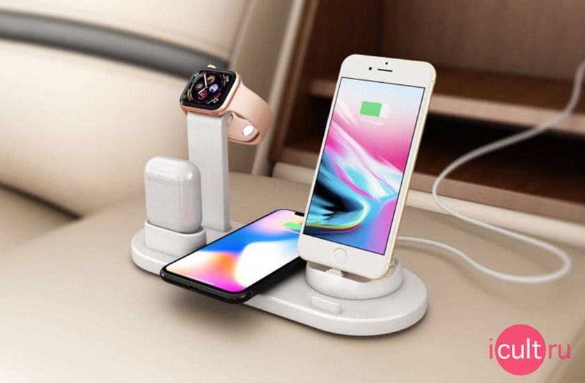 4 in 1 Wireless Charging Stand White