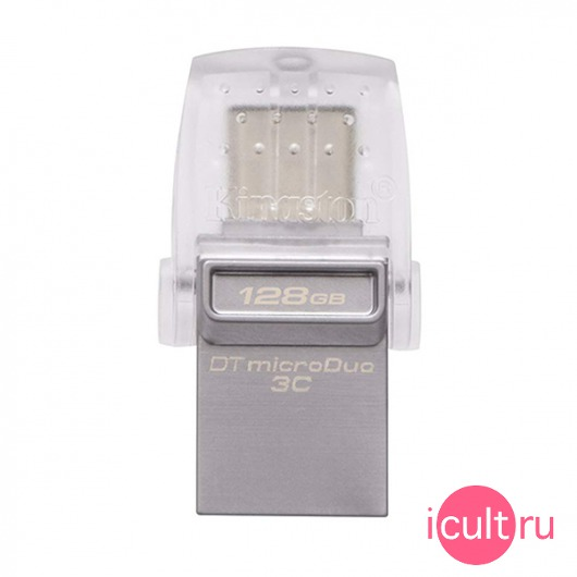 USB-С флеш-накопитель Kingston DT MicroDuo 3C 128GB USB 3.1/USB-C серебристый DTDUO3C/128GB