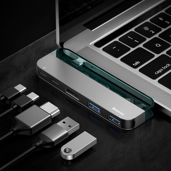 USB-C хаб Baseus Transparent Series PD 2USB/2USB-C/1HDMI 4K 30Hz темно-серый CAHUB-TD0G