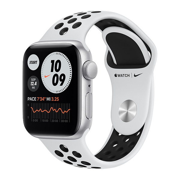 Смарт-часы Apple Watch SE GPS 40mm Aluminum Case with Nike Sport Band Silver/Pure Platinum/ Black серебристые/чистая платина/чёрный MYYD2