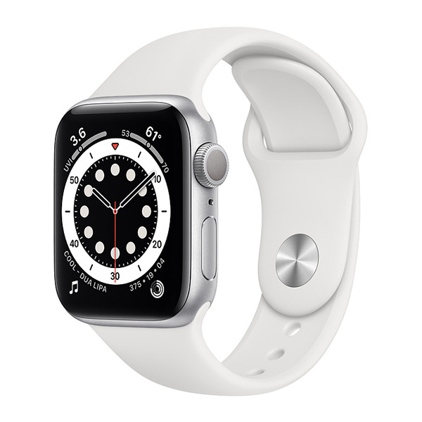 Смарт-часы Apple Watch Series 6 GPS 40mm Aluminum Case with Sport Band Silver/White серебристые/белые MG283