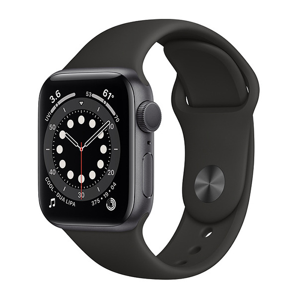 Смарт-часы Apple Watch Series 6 GPS 40mm Aluminum Case with Sport Band Space Gray/Black серый космос/чёрные MG133