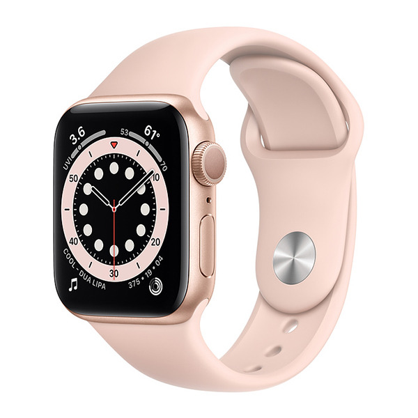 Смарт-часы Apple Watch Series 6 GPS 40mm Aluminum Case with Sport Band Gold/Pink Sand золотистые/розовый песок MG123
