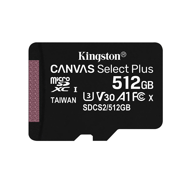 Карта памяти Kingston CANVAS Select Plus 512GB MicroSDXC Class 10/UHS-I/U3/V30/A1/100Мб/с SDCS2/512GBSP