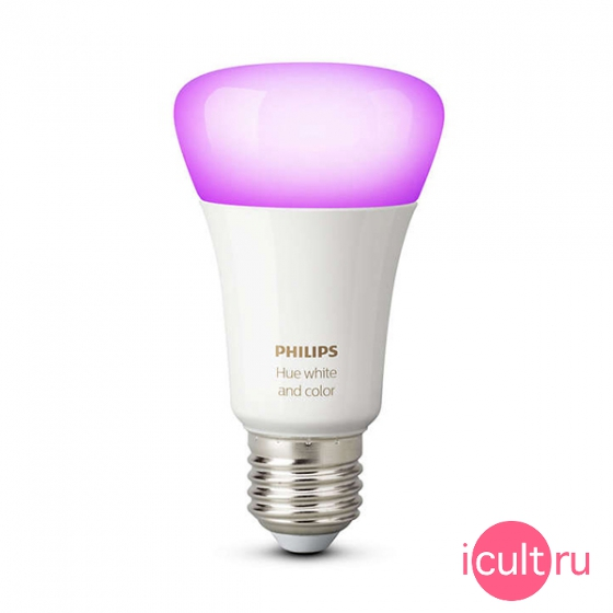 Управляемая мультицветная лампа Philips Hue White and Color Ambience 10W/E27 для iOS/Android устройств серебристая