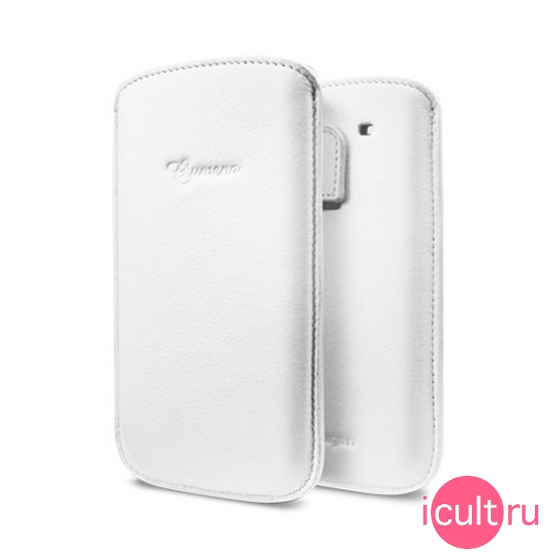 Кожаный чехол SGP Crumena Leather Pouch Series White для Samsung Galaxy S3 белый SGP09181