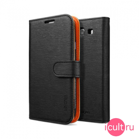 Чехол SGP Leather Case illuzion Series Mandarine Black для Samsung Galaxy S3 черный/оранжевый SGP09297