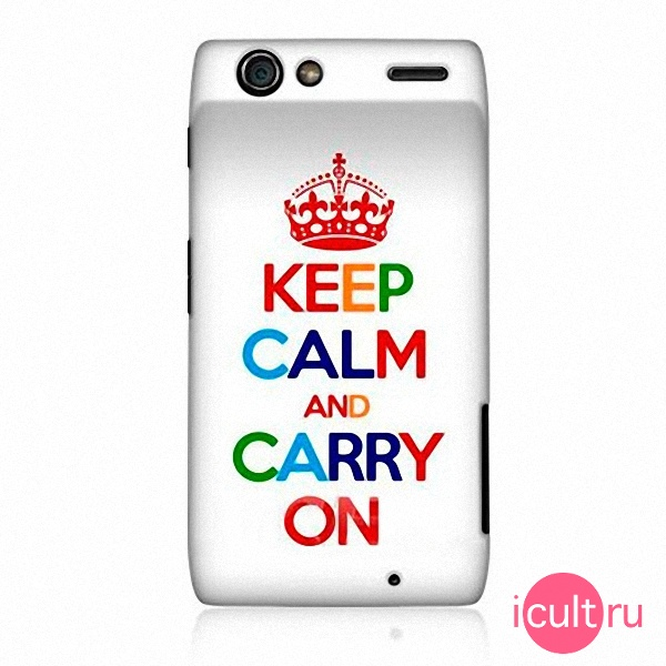 Чехол Ecell KEEP CALM AND CARRY ON Hard Back Case White для Motorola XT910 белый