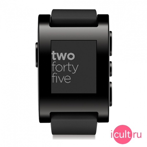 Смарт-часы Pebble Watch 52 мм Jet Black черные