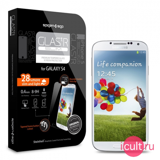 Защитное стекло SGP Screen Protector GLAS.tR SLIM Premium Tempered Glass для Samsung Galaxy S4 SGP10178