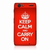 Чехол Ecell KEEP CALM AND CARRY ON Hard Back Case Red для Motorola XT910 красный