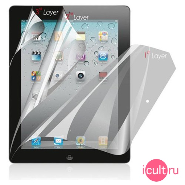 Защитная трехслойная пленка Luardi Three-layer Anti-Glare Screen Protector для iPad 2/New iPad liPad3uv3Lsp